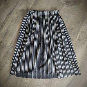 J Crew Pleated Midi Skirt Triple Stripe Elastic 4